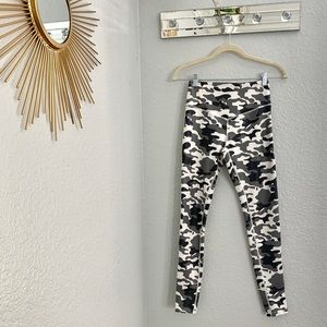 Grey and White Camouflage Yoga Pants